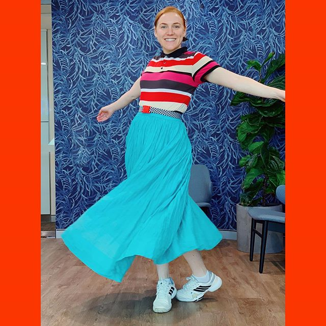 Getting my Friday twirl on again. 💃 . . . .  This #showusyourgorman skirt and #arthurgalan polo are both @vinniesshops purchases (the latter from the men's section). Shoes are #handmedowns and belt from @thesocialoutfit. ✨✨✨