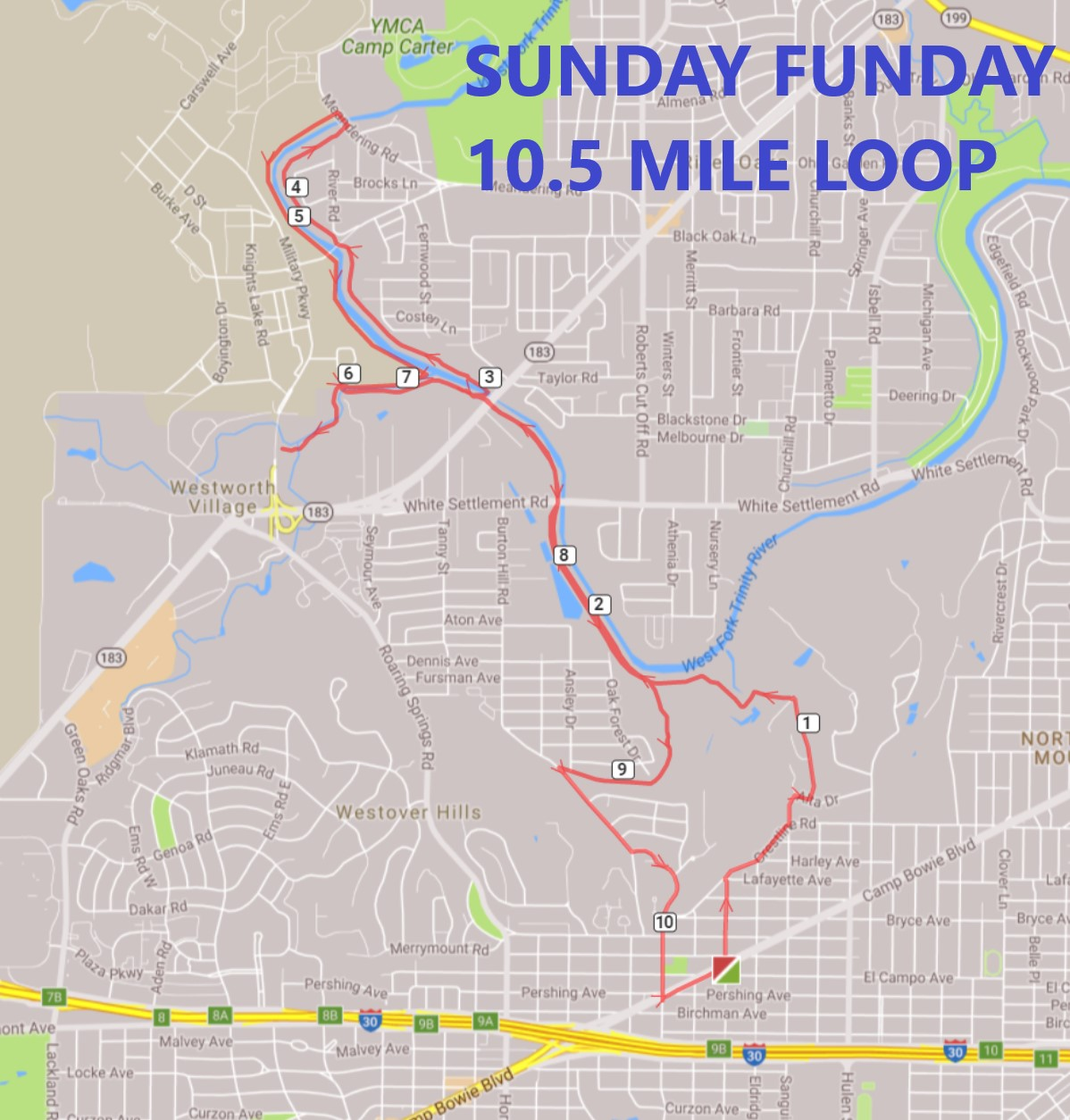 SUNDAY FUNDAY 10.5 MILES ROUTE