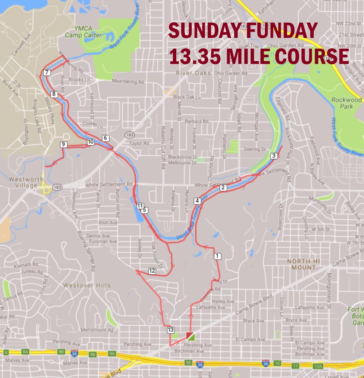 SUNDAY FUNDAY 13.35 MILE ROUTE