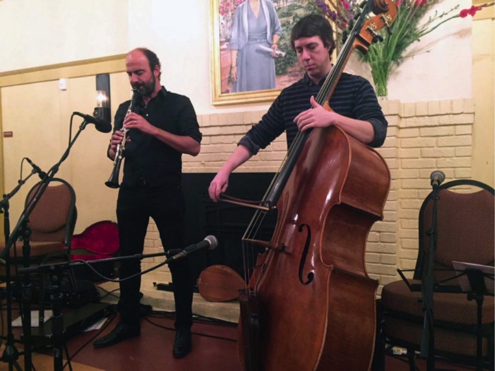 Kinan Azmeh, playing alongside his bassist Shawn Conley, dedicated his second piece to falling in love in a war-torn country. (Photo by Jane Carroll)
