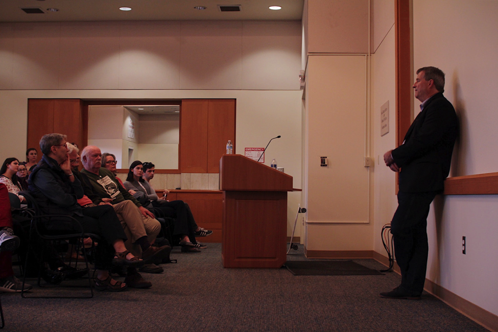 Author and Freelance Journalist Sam Quinones addresses the UCSB McCune Conference room on his award winning 2015 book  Dreamland:   The True Tale of America's Opiate Epidemic.
