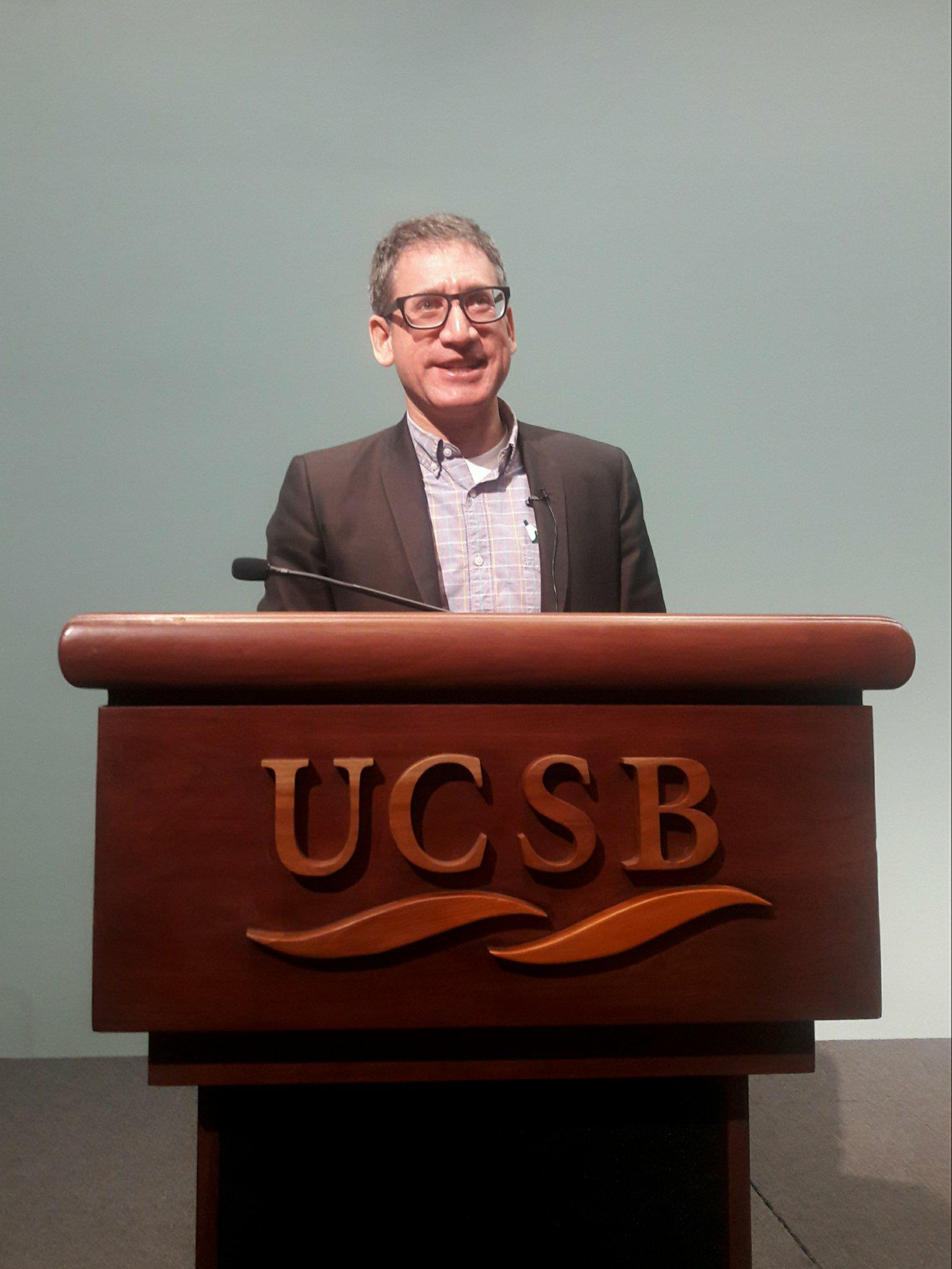 Tony Michaels, PhD., a religious studies professor from University of Wisconsin-Madison, delivers his talk about Jewish American History at UC Santa Barbara.