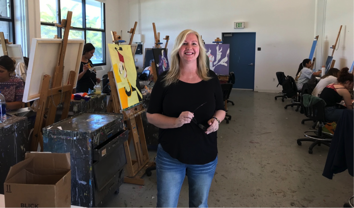 Art Professor Jane Callister poses with her painting students.