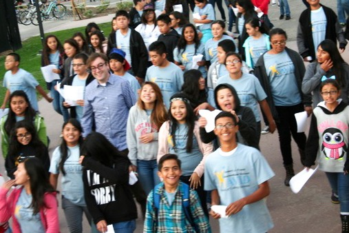 Krut welcoming the students of RJ Frank Intermediate School to UCSB