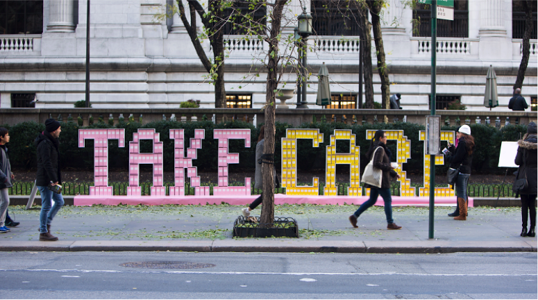 Pictured above is the Brandless large scale installation project that Julia Marsh helped to design in front of the New York Public Library in Manhattan, New York.