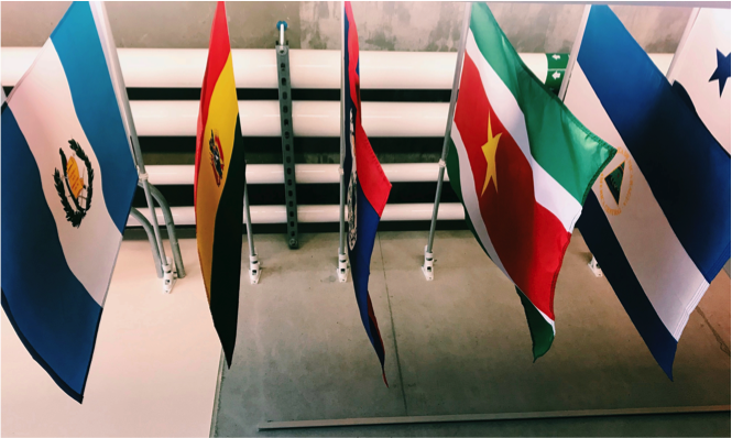 Pictured above are flags on display inside the Student Resource Building (SRB) at UC Santa Barbara.