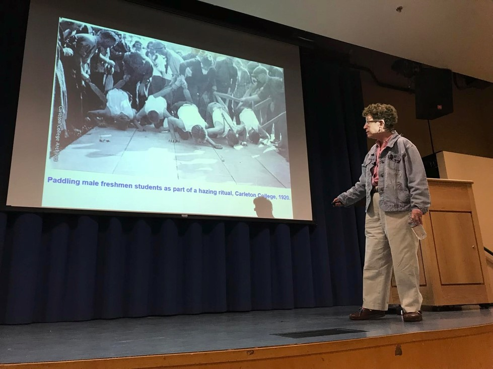 History professor Laura Kalman can be seen above lecturing at UCSB.