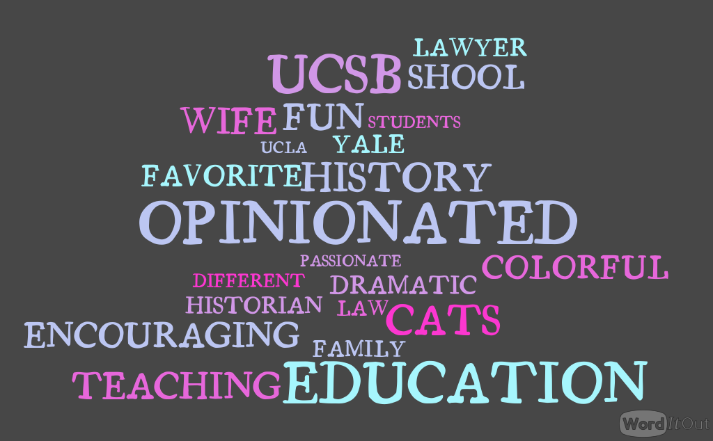 Pictured above is a collage of words used by students to describe Professor Laura Kalman.