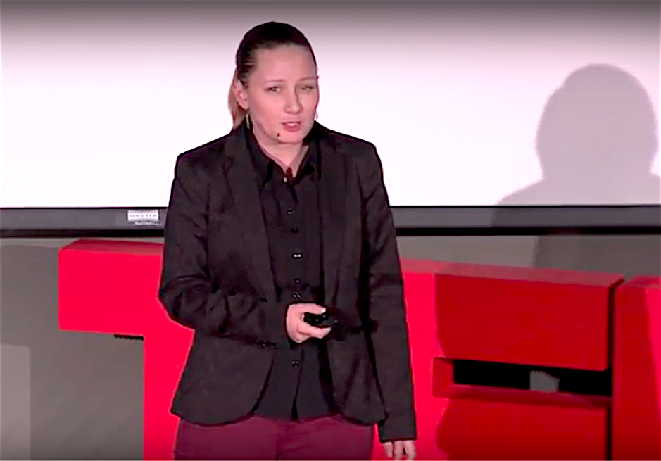 Justine Bethel gives her speech at the TEDxUCSB event in March, 2018.