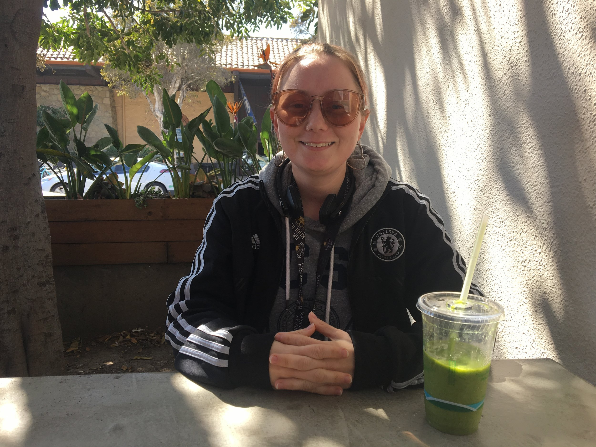 Justine Bethel relaxes at one of her favorite Isla Vista spots, Cajé Café.