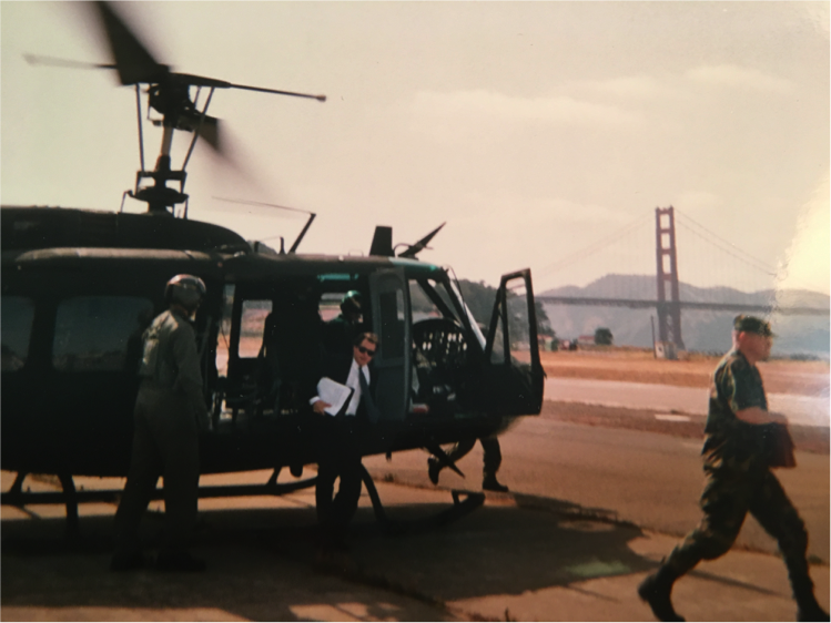 San Francisco, 1991. Grayson gets out of his helicopter on Chrissy Field when the Presidio was still an army base.