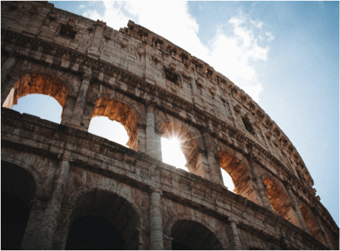 The Piazza Del Colosseo, Rome, Italy was the hub of gladiatorial combat for entertainment.