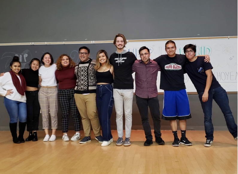 UCSB's Poetry Slam participants posing for a picture after sharing their best poems during the first round out of three on January 18 in the Theater and Dance building.
