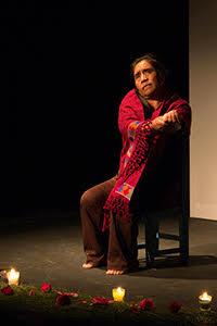 Playwright Petrona de la Cruz Cruz performs at UC Santa Barbara.