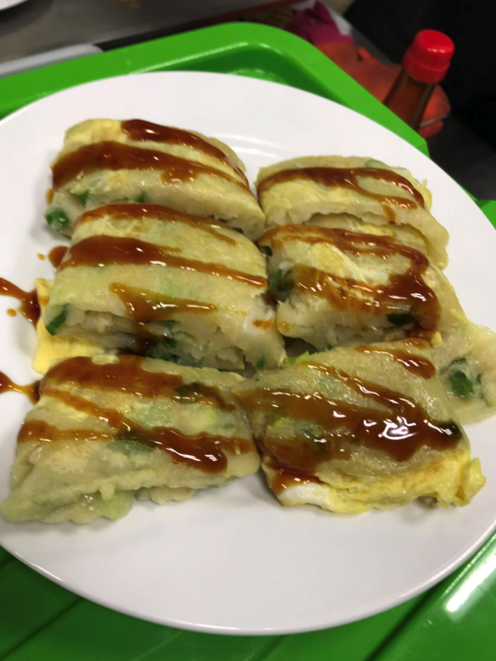 This is a photo of a Taiwanese Traditional Breakfast: Chinese Omelet.