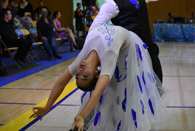 Yuna Choi competing at the UCSB Beach Ball dance competition in 2018. Photo by Stephanie Wang.