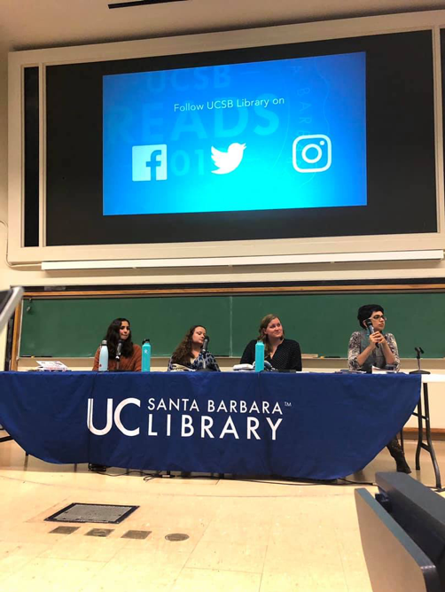 """Women and Comics"" panelists from left to right: Addie Jensen, Maite Urcaregui, Rachel Rhys, and Swati Rana."