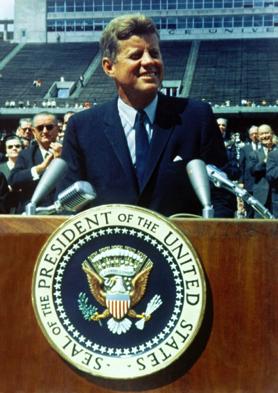 Former President of the United States John F. Kennedy speaking at Rice University on September 12, 1962.
