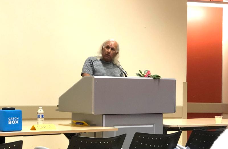 Alan Salazar, a Chumash and Tataviam elder and educator, spoke of his family history.
