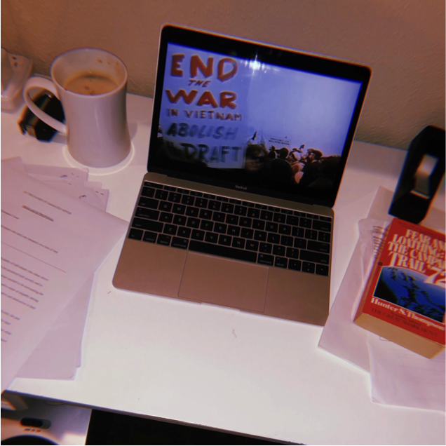 The desk of Omar Reyes, an Arnhold Fellow who did individual research into the Vietnam War era, and shared his findings with a team.