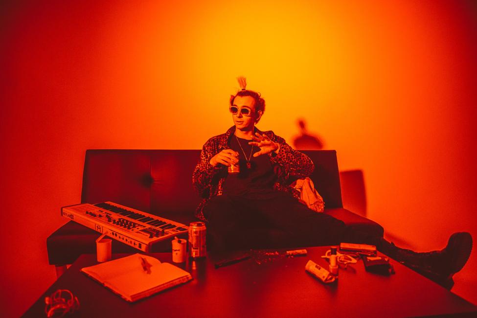 UCSB grad Kian McHugh at a photoshoot at Blackspace Studios in January . Photo credit: Glenn Matheny.
