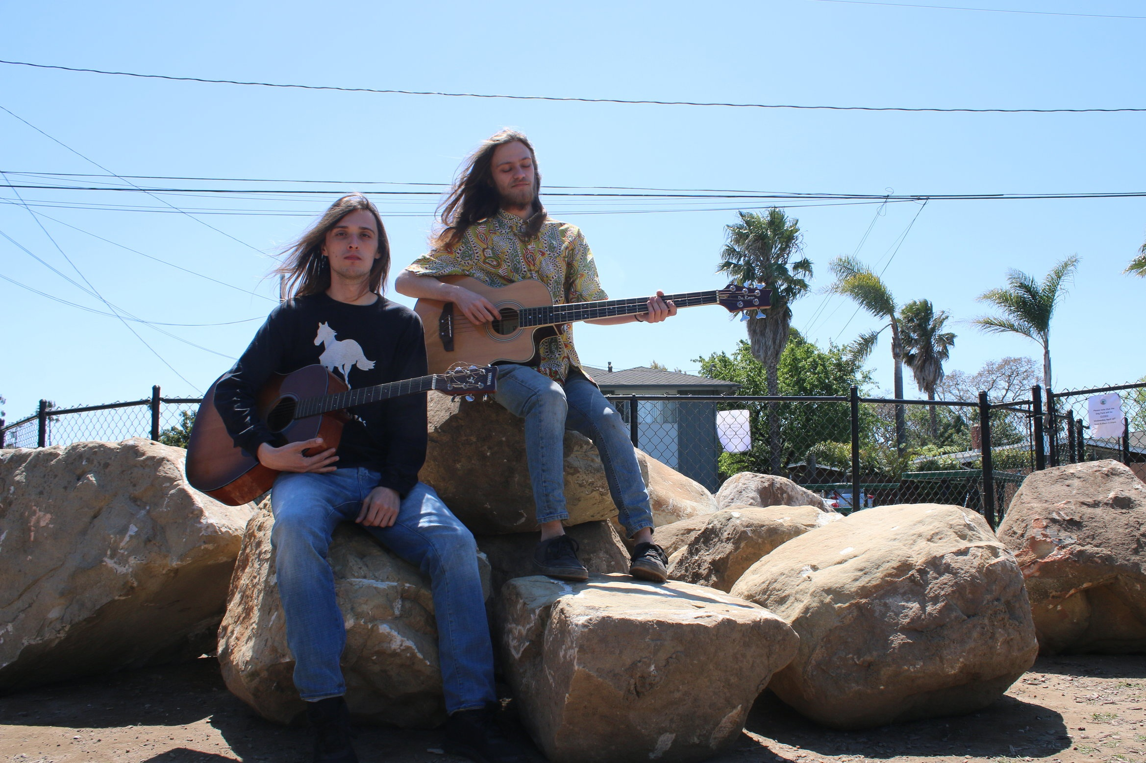 UC Santa Barbara Music Composition majors Cory Fildes(left) and Will Stout(right) show off some of their instruments in Isla Vista.