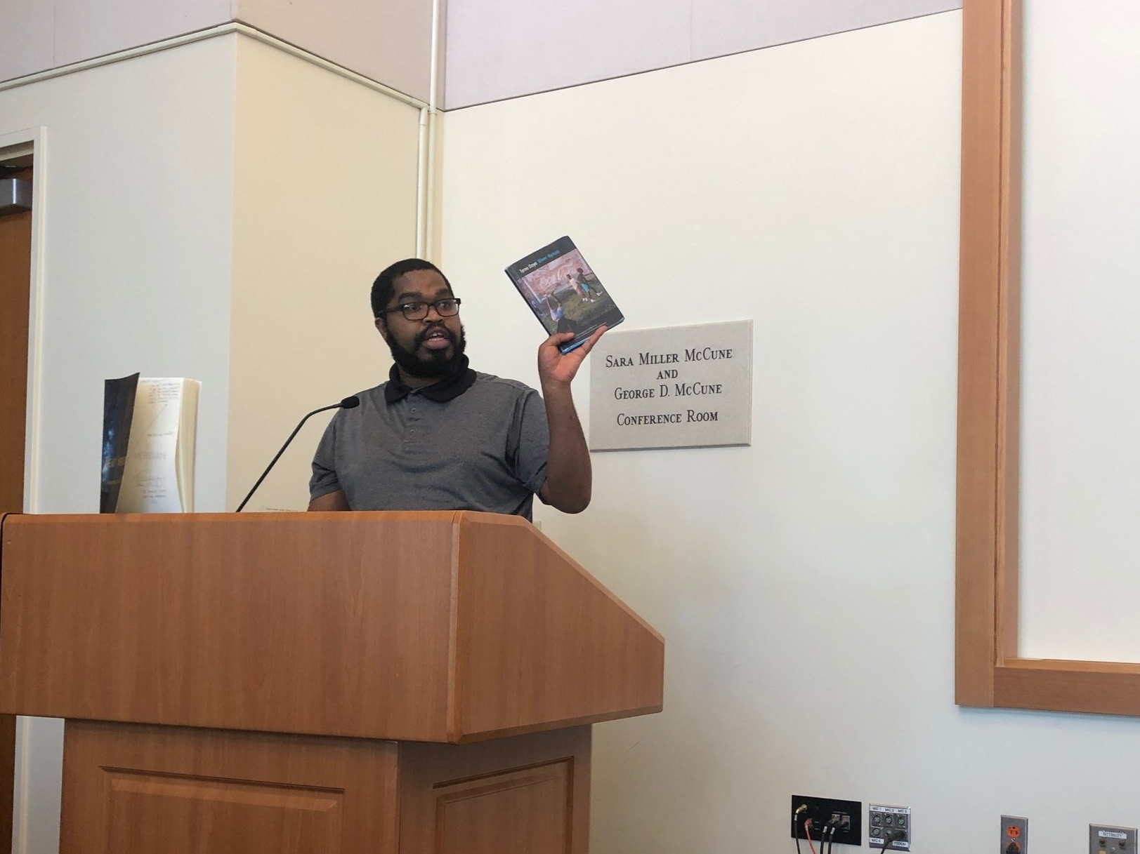 North Carolina-based poet Tyree Daye presenting his poetry collection  River Hymns  to UCSB students and poetry lovers at UCSB's 2019 Diana and Simon Raab Writer in Residence Event.