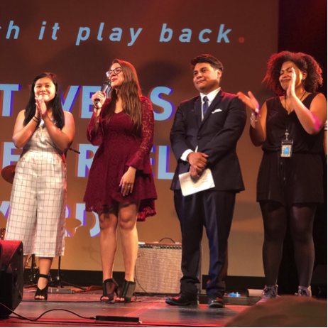 Giovanna Vicini hosted the 27th Annual Reel Loud Film & Arts Festival onstage at Campbell Hall in May 2018.