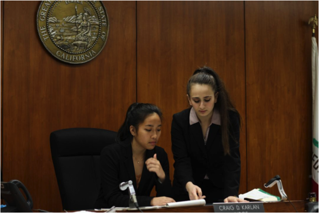 Third-year undergraduate student and Mock Trial president at UC Santa Barbara, Zeina Safadi (right), attends a mock trial at a Los Angeles Courthouse.