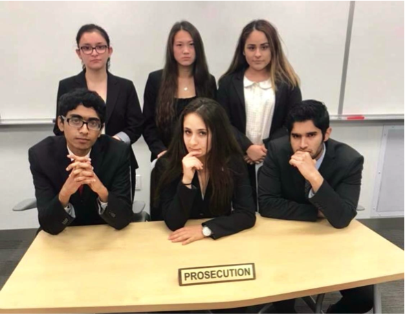 Mock Trial president at UC Santa Barbara, Zeina Safadi, completes a mock trial with her prosecuting team and witnesses.