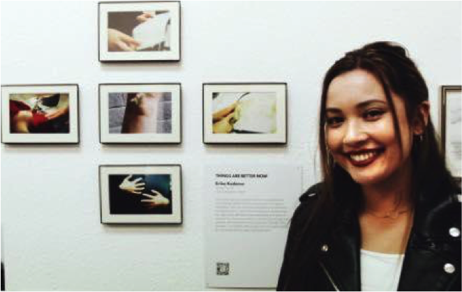 Erika Kodama showcases her original artwork at the Changing Tides Exhibit in Los Angeles.  Link for purpose of artwork:  How the Younger Generation is Changing the Tides Through Art