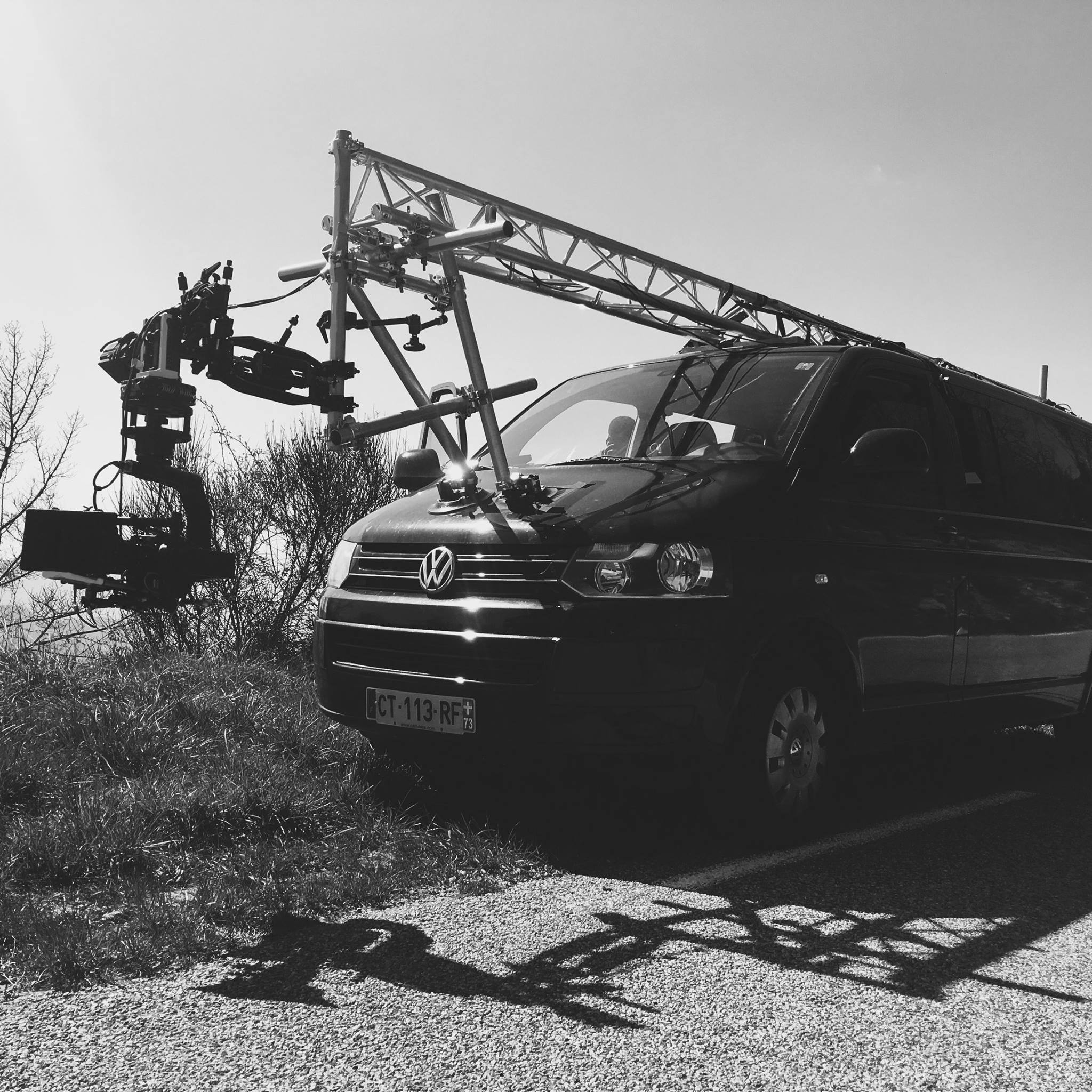 Front rigged Alexa Mini with a Canon 17-120mm lens on a MARNY head with a FlowCine Black Arm. We called it the Mad Max Rig. photo: Cyril Muscat