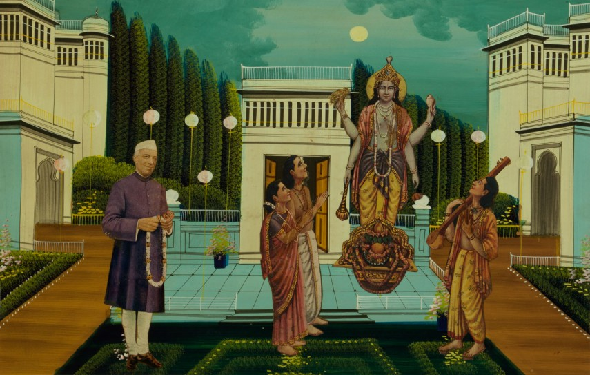 Collage depicting deity Satyanarayan and Pandit Jawaharlal Nehru , Unknown Maker | Chromolithograph cut-outs on printed backdrop, c. 1930