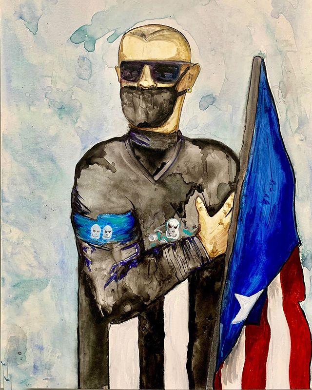orgullosa!!! 🇵🇷 I love my people, i love my island, i love everything about being Puerto Rican. i am so proud. i've been painting this piece for a week just because it's such a special thing to capture so much feeling and so much pride+ i cried a little as i painted, tears of joy as #rickyrenuncia was officially announced. there is a lot of work to be done and the island has been through so much, but look how tall we all stand through it all+ @badbunnypr an inspiration throughout this entire movement 🇵🇷🇵🇷🇵🇷🇵🇷 orgullosa !!! 🇵🇷 amo a mi gente, amo a mi isla, amo todo acerca de ser puertorriqueño. estoy muy orgulloso. yo pintó esta pieza durante una semana solo porque es algo muy especial para capturar tanto sentimiento y tanto orgullo. lloré un poco mientras pintaba, lágrimas de alegría cuando se anunció oficialmente #rickyrenuncia. hay mucho trabajo por hacer y la isla ha pasado por mucho, pero mira lo alto que todos lo superamos + @badbunnypr una inspiración durante este movimiento