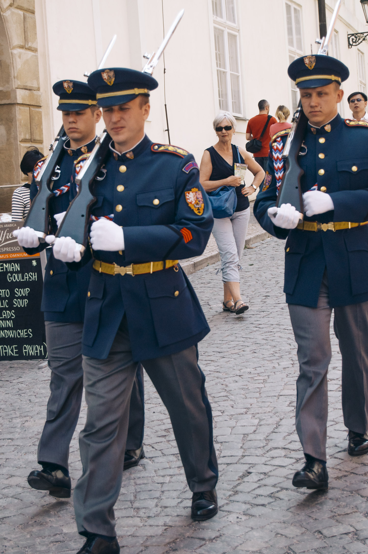 A day of a Castle Guard soldier: - Every Castle Guard soldier gets up at 6 am. Then there is his/her common job – the guards perform order-drill, defence training and shooting practice and all this conclude with a 24-hour duty. The duty includes an hour stand-up, then service at the guard room, and a rest which can be followed by sleep.