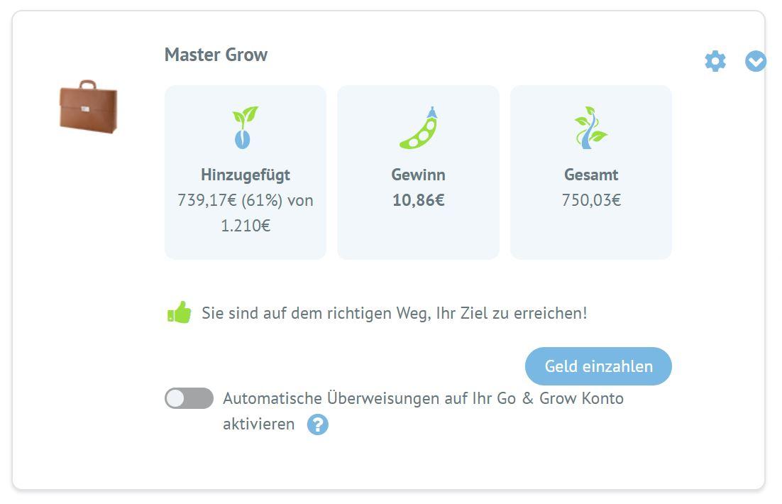 Screenshot meines Go & Grow Kontos Ende 2018