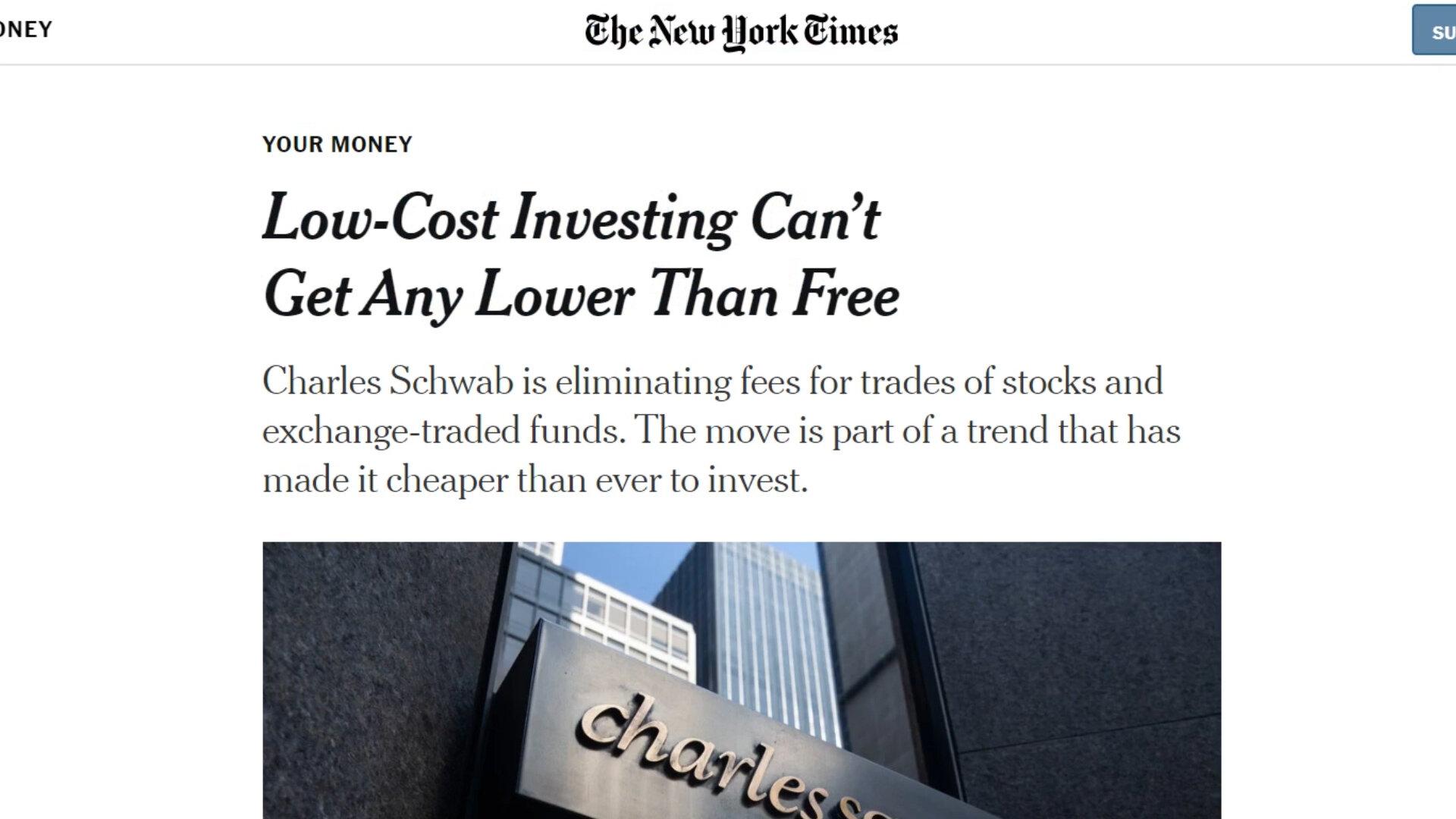 Schwab bietet provisionsfreien Aktienhandel an