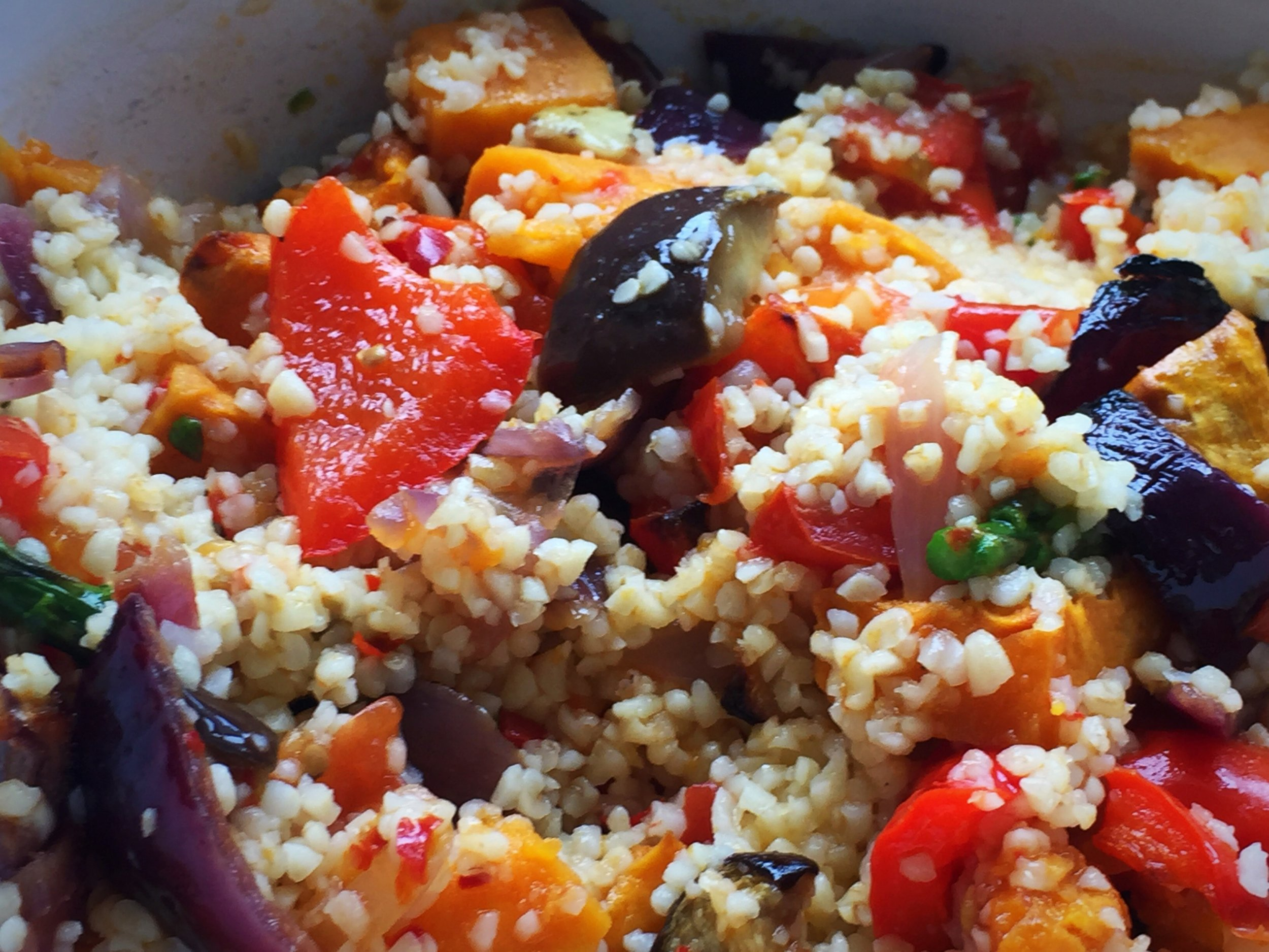 roasted vegetables, basil and bulgar wheat.JPG