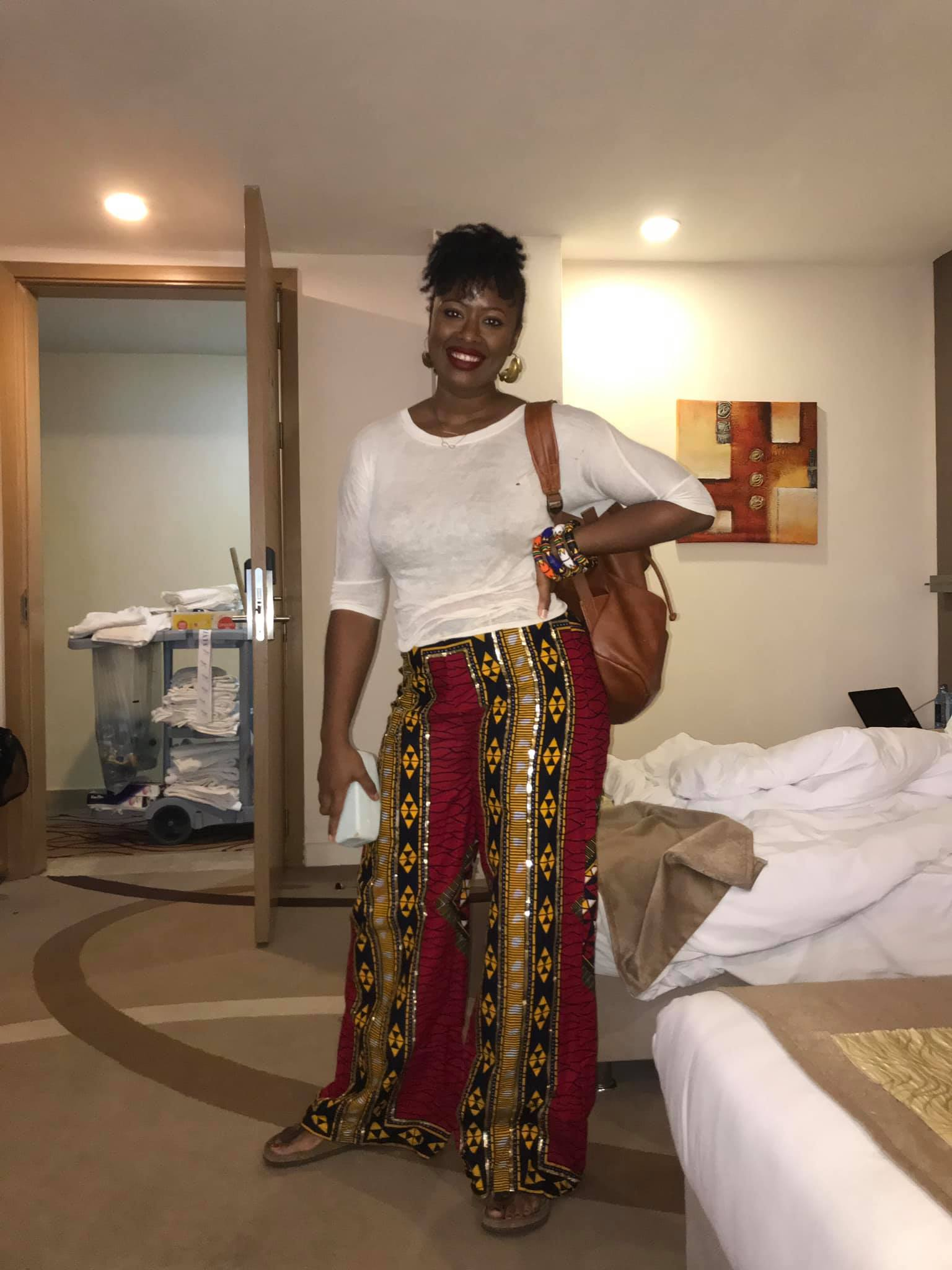 This is how I dressed to get around after I finished the show at BBCAfrica. These trousers are from Siba's in East Legon, in Accra.