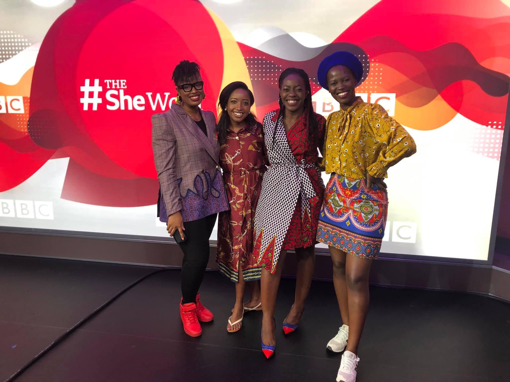 with The She Word co-panelists Anita Nderu (Kenya), Sade Ladipo (Nigeria), and Mandy Amandine (Burundi) at BBC Africa studios in Nairobi, Kenya