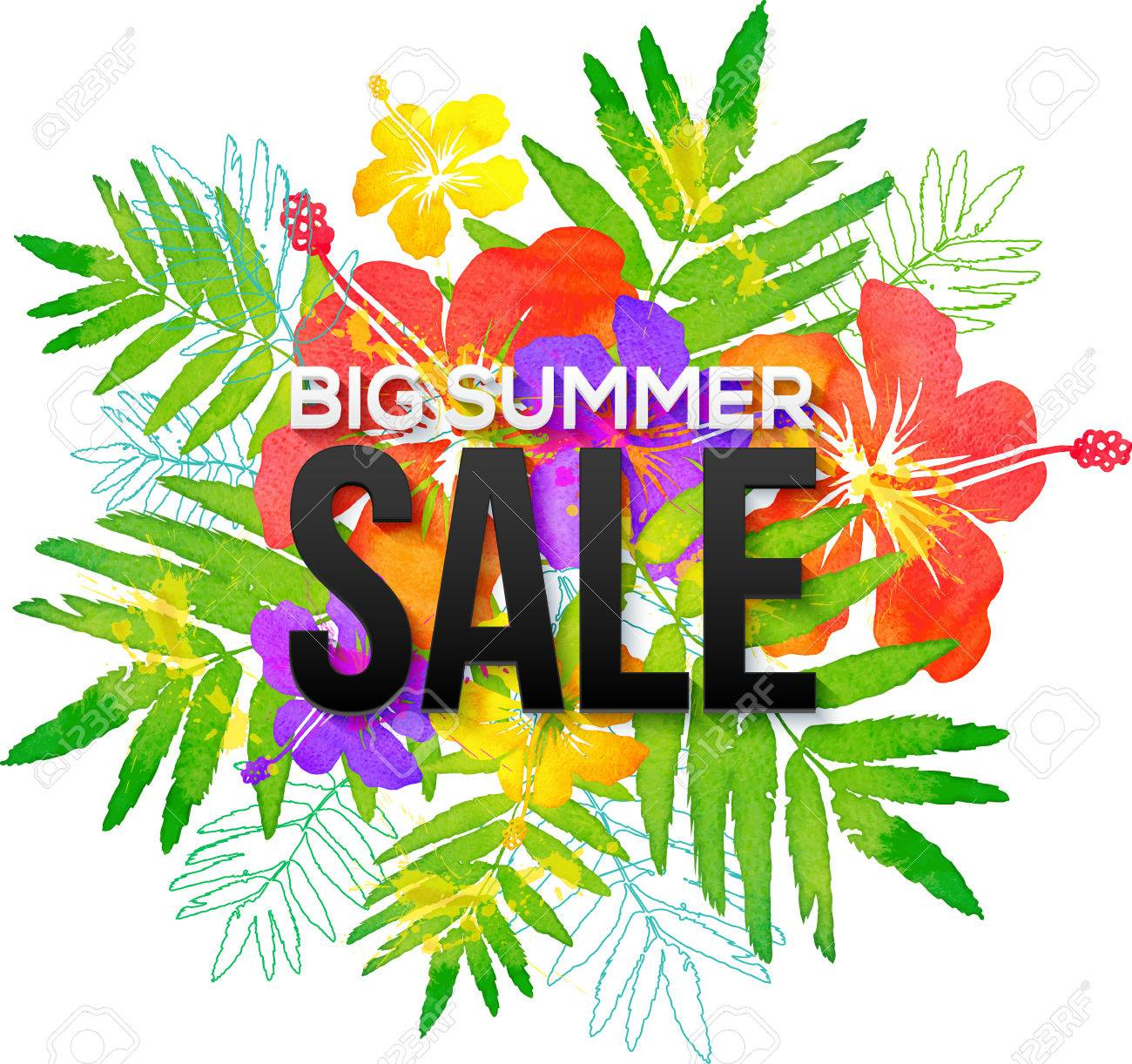 40974888-watercolor-tropical-flowers-bouquet-with-black-big-summer-sale-sign.jpg