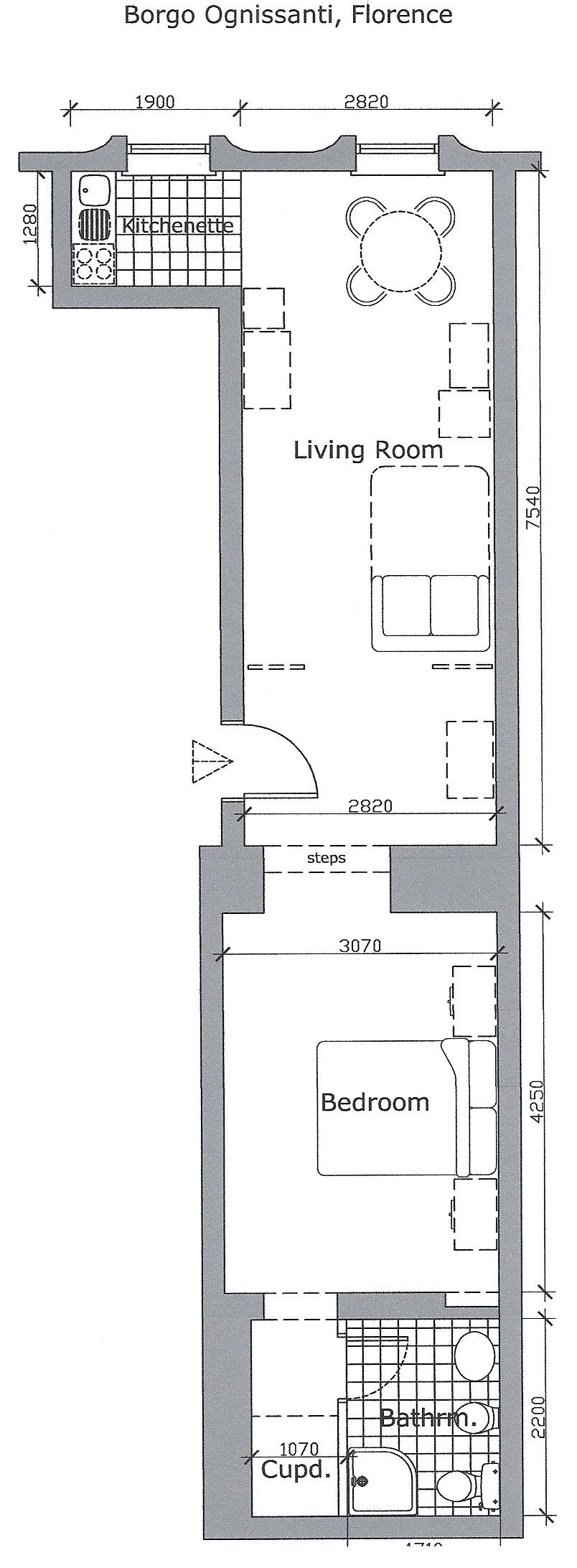 Floor plan of borgo ognissanti apartment