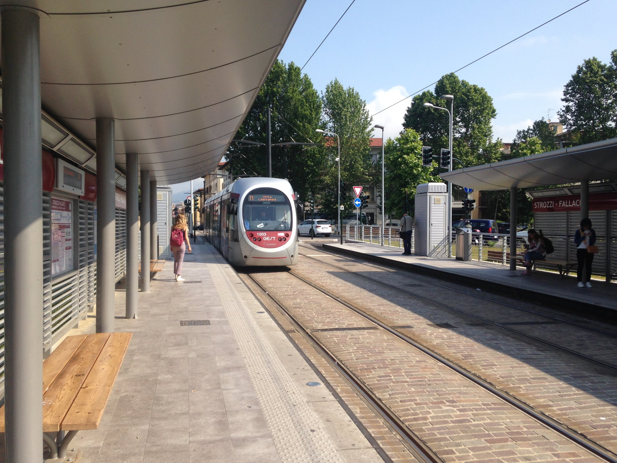 Tram arrives at strozzi-fallaci 2nd stop from firenze smn train station