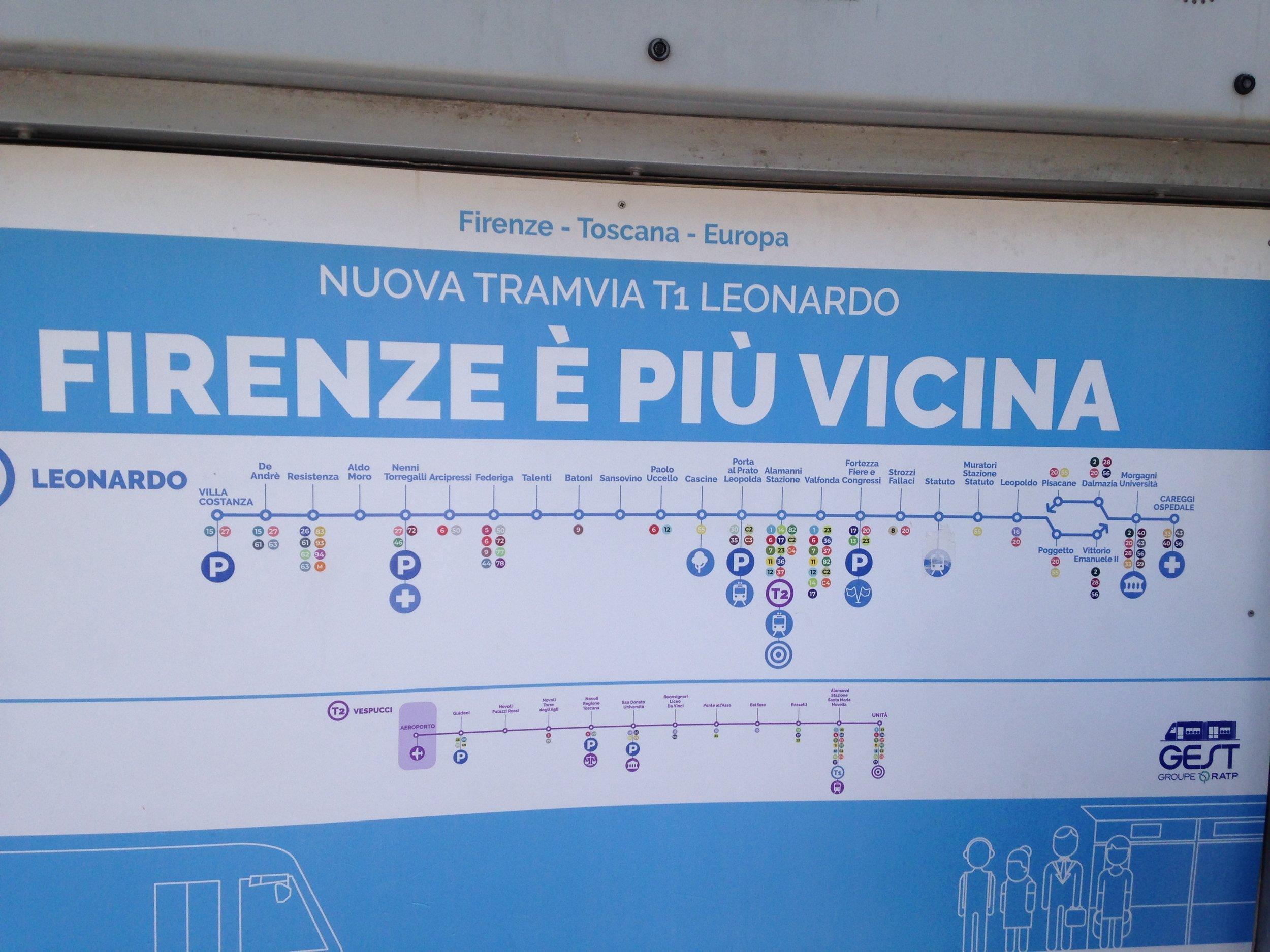 firenze tram line stations