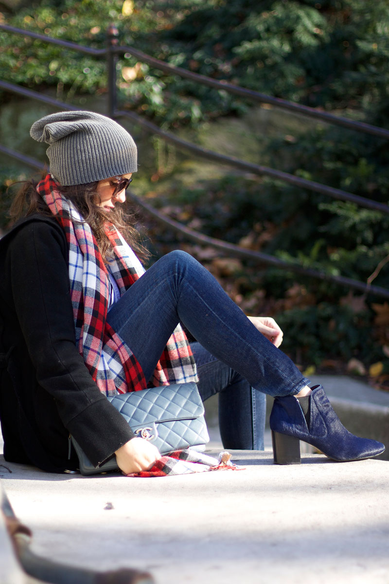 gray-beanie-flannel-scarf-blue-booties-chanel-bag.jpg