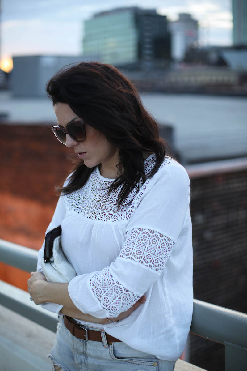 white lacey romantic blouse form Old Navy