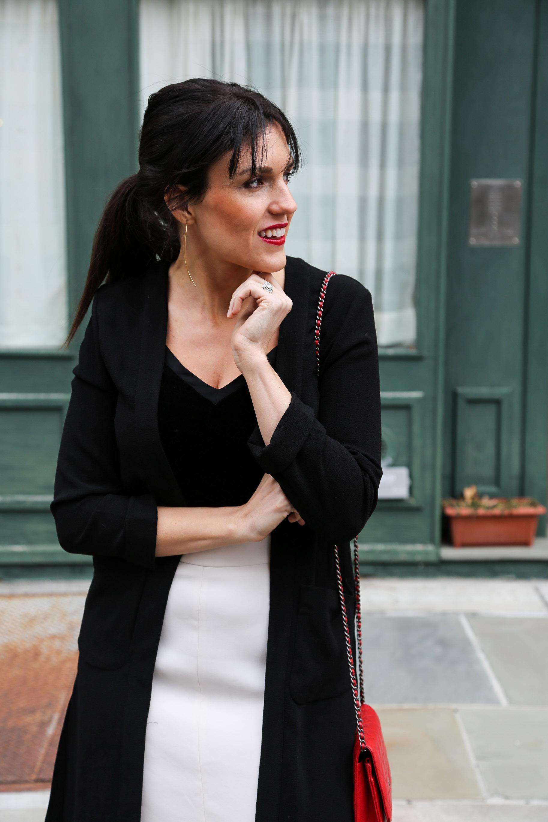 Christmas Outfit- Black Velvet Cami, White Skirt & Red Chanel