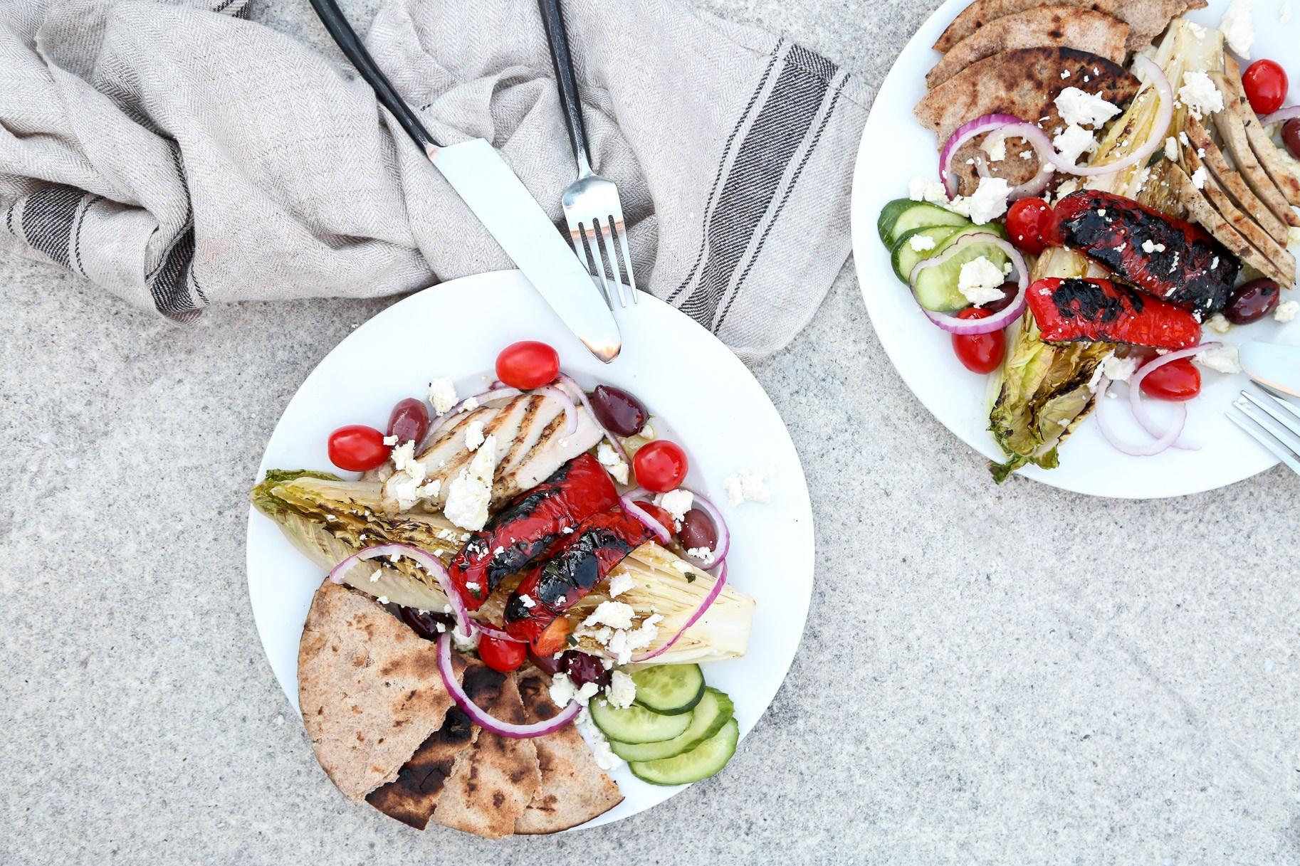 GRILLED GREEK SALADS - serves 4
