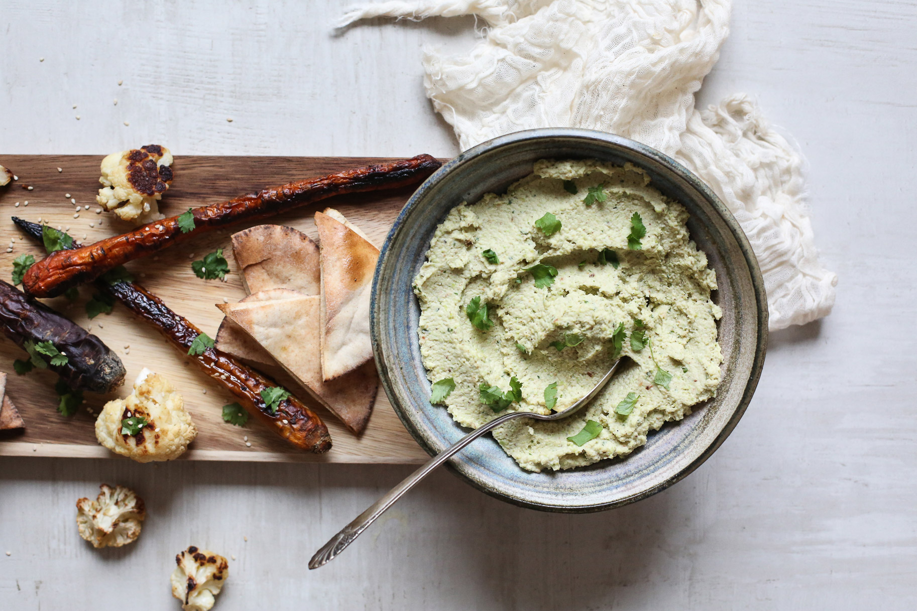 ROASTED CAULIFLOWER & EDAMAME HUMMUS - yield approximately 3 cups