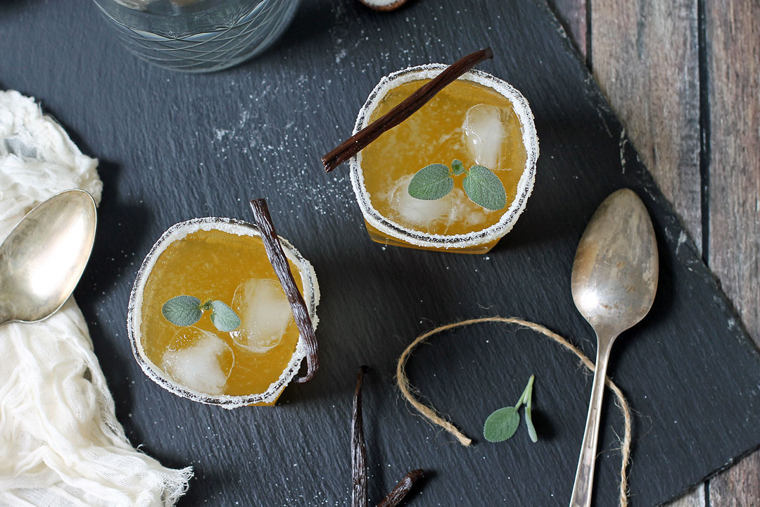 SQUASH + SAGE SHRUB COCKTAILS - yields 4 cocktails